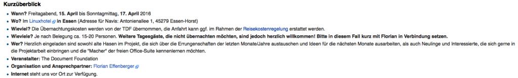 Wiki-Seite zum LibreOffice Community-Treffen