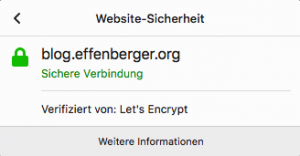 My blog uses a Let's Encrypt SSL certificate