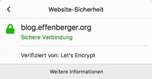 Auch mein Blog nutzt ein Zertifikat von Let's Encrypt, das mit acme.sh erstellt wurde