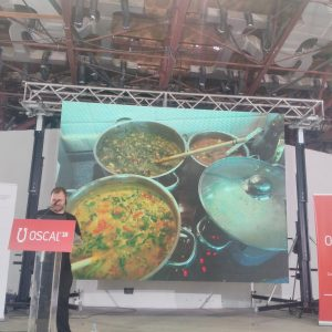Me talking about open source cooking at OSCAL (picture by Silva Arapi)